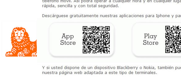 ING Direct usa QR-Codes en los emails