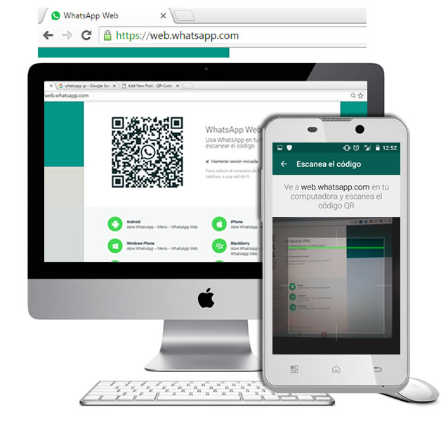 WhatsApp in your PC screen scanning a QR-Code - QR-Code