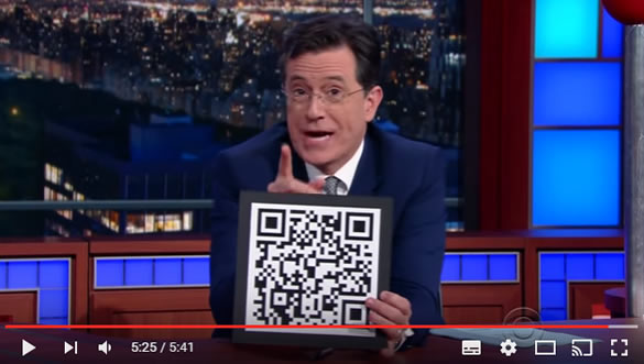 Late Night with Stephen Colbert muestra un QR-Code en TV