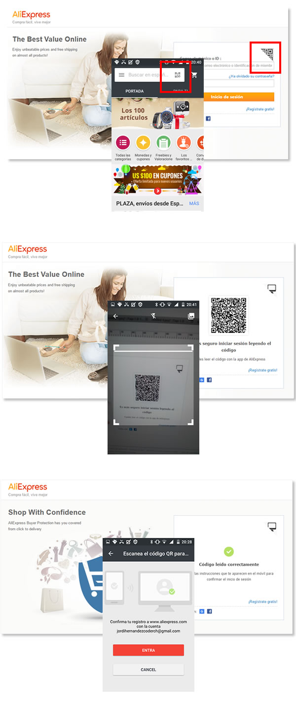Alibaba com recommends using a QR as login system - QR-Code